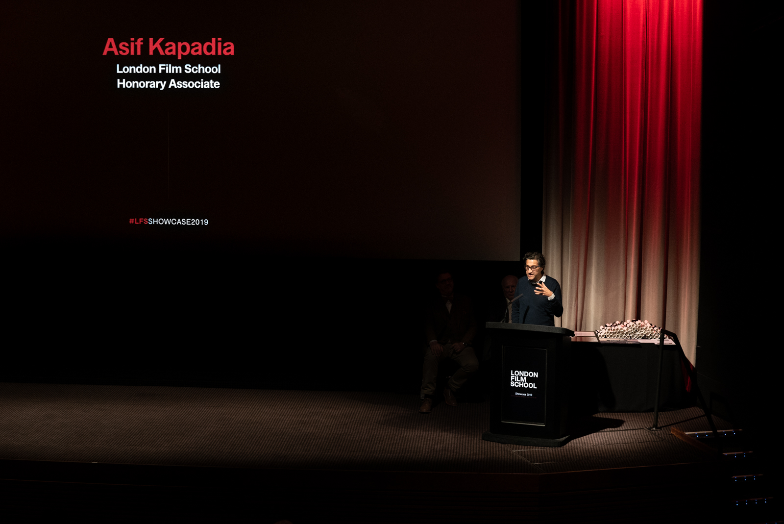 Asif Kapadia speaks at podium